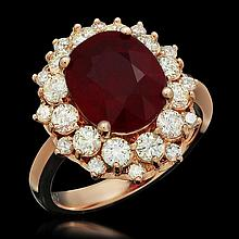 14K Gold 4.88ct Ruby 1.50ct Diamond Ring
