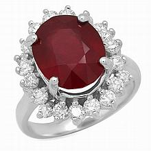 14K Gold 6.88ct Ruby 1.13ct Diamond Ring