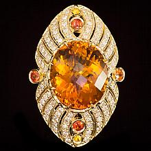 14K Gold 18.92ct Citrine, 0.75ct Fancy Color Sapphire 1.62ct Diamond Ring