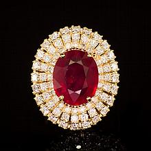 14k Gold 6.84ct Ruby 1.91ct Diamond Ring