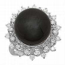 14K Gold 14mm Tahitian Pearl 0.80ct Diamond Ring