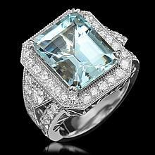 14K Gold 9.55ct Aquamarine & 2.10ct Diamond Ring