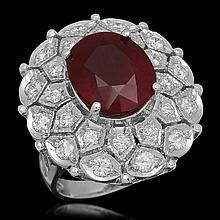 14K Gold 10.35ct Ruby 1.73ct Diamond Ring
