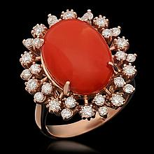 14K Gold 7.63ct Coral & 1.00ct Diamond Ring