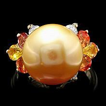 14k Yellow Gold 13mm Pearl 0.56ct Diamond Ring