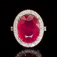 14k Gold 8.94ct Ruby 0.85ct Diamond Ring