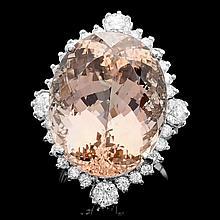 14k Gold 35.00ct Morganite 1.85ct Diamond Ring
