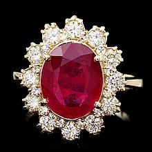 14k Yellow Gold 4.00ct Ruby 1.15ct Diamond Ring