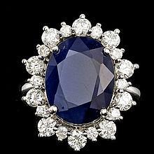 14k Gold 10.00ct Sapphire 1.35ct Diamond Ring