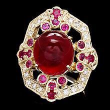 14k Yellow Gold 13ct Ruby 0.50ct Diamond Ring