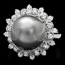 14k Gold 12 X 12mm Pearl 0.60ct Diamond Ring