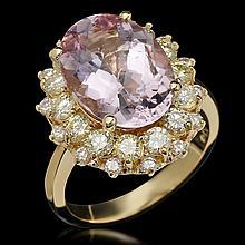 14K Gold 5.90ct Kunzite 1.76ct Diamond Ring