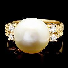 14k Yellow Gold 13mm Pearl 0.60ct Diamond Ring