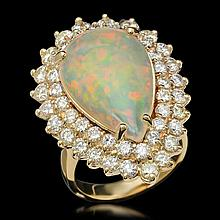 14K Gold 5.32ct Opal & 3.21ct Diamond Ring