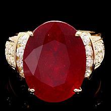 14k Yellow Gold 15.75ct Ruby 0.80ct Diamond Ring