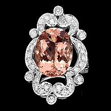 14k Gold 9.00ct Morganite 1.40ct Diamond Ring