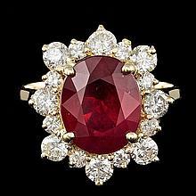 14k Yellow Gold 5.50ct Ruby 1.35ct Diamond Ring
