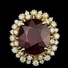 14k Yellow Gold 18.50ct Ruby 1.30ct Diamond Ring