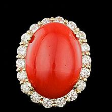 14k Yellow Gold 12.50ct Coral 2.30ct Diamond Ring