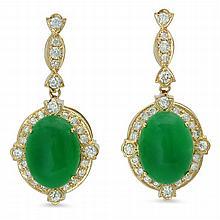 14K Gold 18.21ct Jadeite 1.85 Diamond Earrings