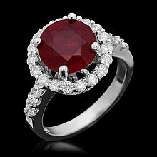14K Gold 4.01ct Ruby 0.85ct Diamond Ring