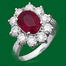 14k Gold 3.21ct Ruby 2.02ct Diamond Ring