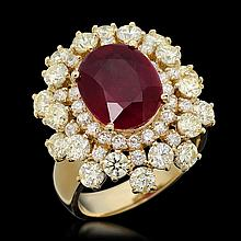 14k Gold 5.23ct Ruby 3.47ct Diamond Ring