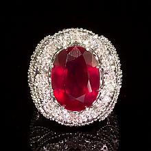 14k Gold 18.62ct Ruby 2.15ct Diamond Ring
