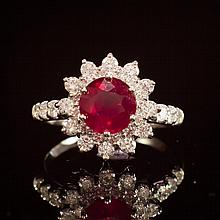14K Gold 2.34ct Ruby 1.20ct Diamond Ring