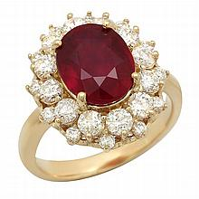 14K Gold 4.97ct Ruby 1.54ct Diamond Ring