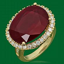 14k Gold 18.30ct Ruby 1.10ct Diamond Ring