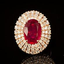 14K Gold 6.59ct Ruby 1.91ct Diamond Ring