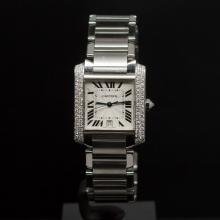 Cartier Large Tank Francaise Stainless Steel Custom 1ct Diamonds Men's Wristwatch