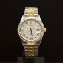 Rolex Two-Tone Datejust 36mm Custom Silver Jubeele Dial with Gold Roman Numerals, Bezel 2.25ct Men's Wristwatch
