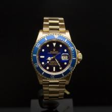 Rolex 18K Gold Submariner 40mm Blue Dial Men's Wristwatch