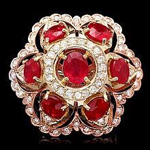 14k Gold 12.00ct Ruby 1.35ct Diamond Ring