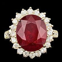14k Yellow Gold 10.00ct Ruby 1.30ct Diamond Ring