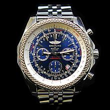 Breitling 47mm Bentley Motors T Speed Blue Chronograph Dial Mens Wristwatch