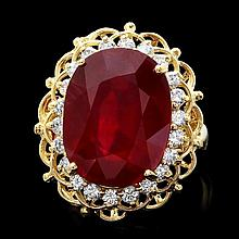 14k Yellow Gold 16.00ct Ruby 0.80ct Diamond Ring