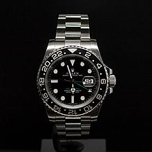 Rolex Stainless Steel 40mm GMT Master II Ceramic Bezel Men's Wristwatch