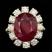 14k Yellow Gold 8.50ct Ruby 1.65ct Diamond Ring