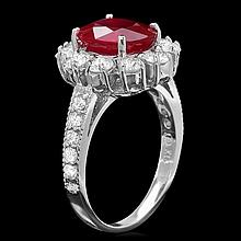 14k White Gold 3.20ct Ruby 1.50ct Diamond Ring