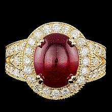 14k Yellow Gold 8.00ct Ruby 1.60ct Diamond Ring