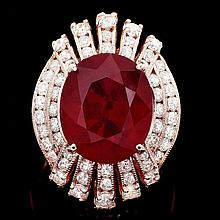 14k Rose Gold 11.80ct Ruby 1.80ct Diamond Ring