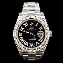 Rolex DateJust ll 41mm aprox. 4.5 cts. Diamond Bezel  0.5 cts. Diamond Dial Men's Wristwatch