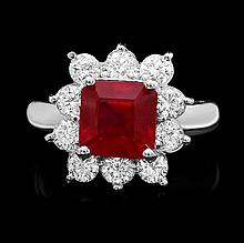 14k White Gold 3.40ct Ruby 1.25ct Diamond Ring
