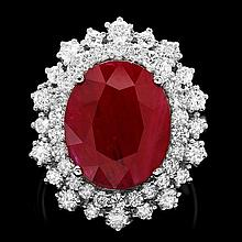 14k White Gold 4.75ct Ruby 1.50ct Diamond Ring