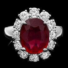 14k White Gold 4.30ct Ruby 1.40ct Diamond Ring