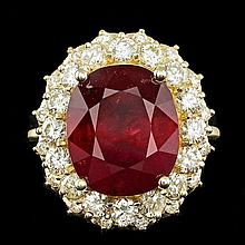 14k Yellow Gold 11.50ct Ruby 1.65ct Diamond Ring