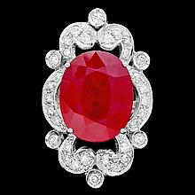 14k White Gold 13.50ct Ruby 1.15ct Diamond Ring